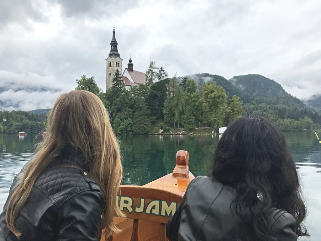 Taking the boat to Lake Bled Island